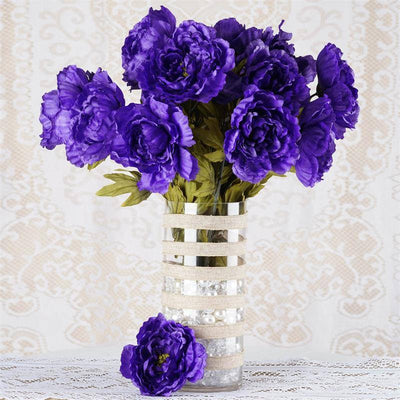 6 Bush 42 pcs Purple Artificial Queen Peony Flowers Bridal Bouquet ...
