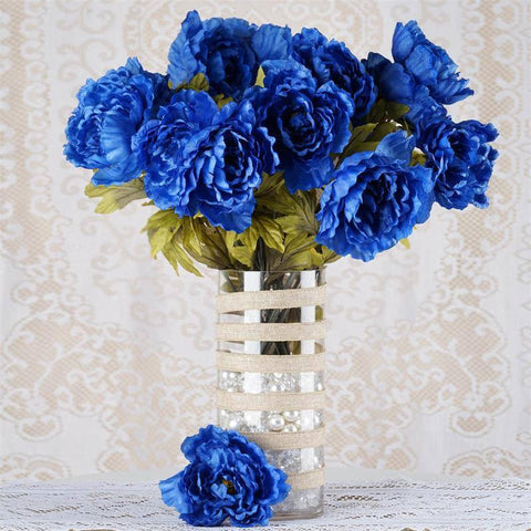 42 QUEEN Peony Flowers - Royal Blue