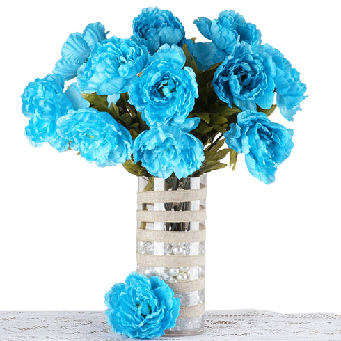 6 Bush 42 pcs Turquoise Artificial Queen Peony Flowers