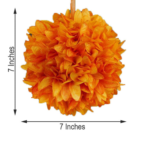 "4 Pack 7"" Orange Artificial Dahlia Flower Kissing Ball"