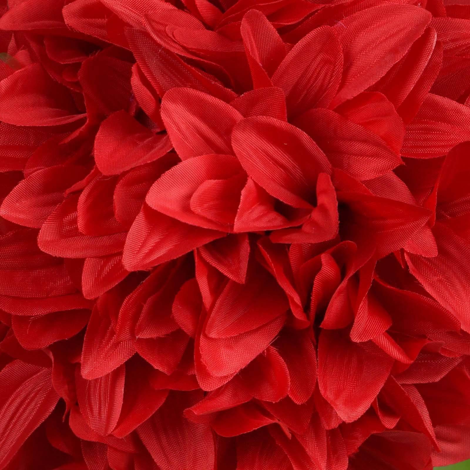 4 Pack 7 Red Artificial Dahlia Flower Kissing Ball Wedding Hanging