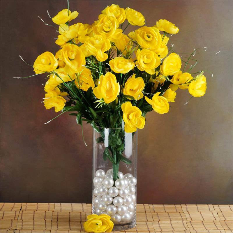 4 Bush 72 Pcs Yellow Artificial Buttercup Bulb Flowers