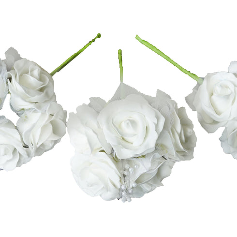 12 Pack 60 Pcs White Pearl Spray Accented Artificial  Foam Rose Flowers Bridal Bouquet Wedding Decoration
