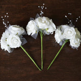 12 Pack 60 Pcs White Pearl Spray Accented Artificial Foam Rose Flowers