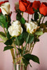 24 pcs Red Artificial Long Stem Silk Rose Flowers With Green Leaves
