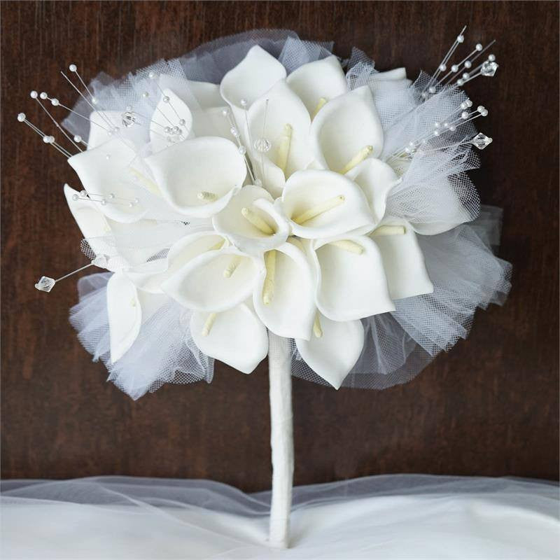 Hand-crafted Je t'aime Lily Bouquet - White