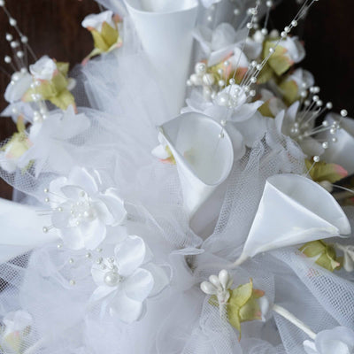 Hand-crafted Bouquet of Tulips & Lilies - White