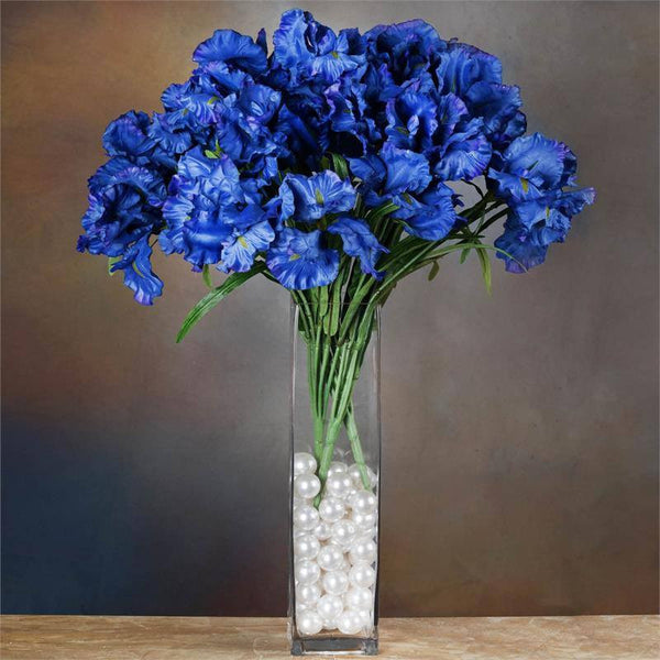 Silk iris bushes affordable artificial flowers efavormart 36 artificial large iris flowers blue mightylinksfo