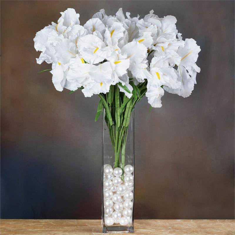 Silk iris bushes affordable artificial flowers efavormart 4 bush 36 pcs white artificial large iris flowers bridal bouquet wedding decoration mightylinksfo