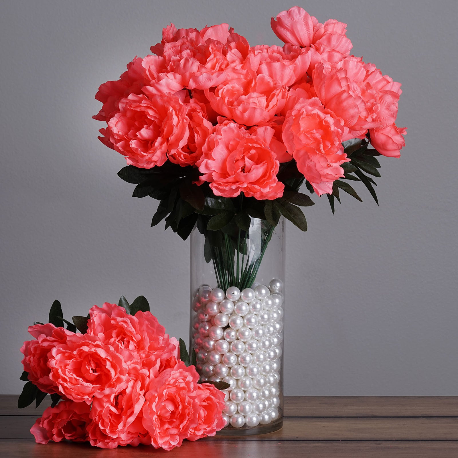 4 Pack Coral Artificial Peony Flower Bridal Bouquet Efavormart
