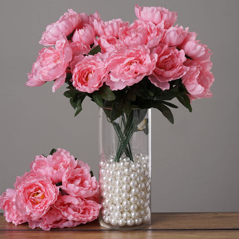 4 Pack Pink Artificial Peony Flower Bridal Bouquet