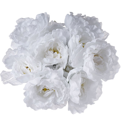 4 Pack White Artificial Peony Flower Bridal Bouquet