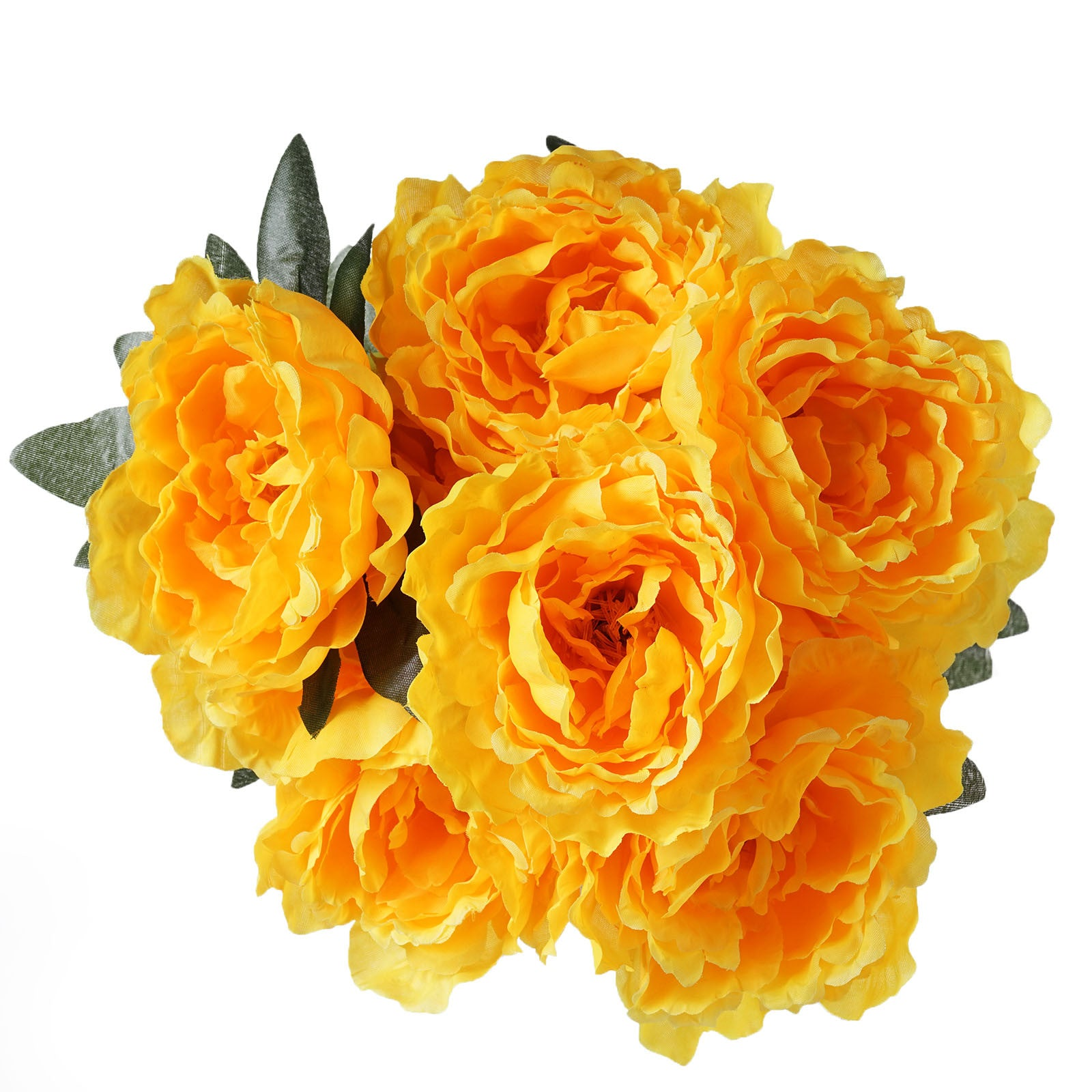 4 Pack Yellow Artificial Peony Flower Bridal Bouquet Efavormart