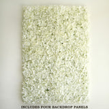 4 PCS Cream Silk Hydrangea Flower Mat Wall Backdrop Panel For Wedding Event Decor