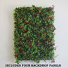 4 Pack Artificial Faux Foliage Boxwood, Fern and Red Flower UV Protected Wall Mat Panel Photo Booth Garden Home Event