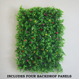4 Pack Artificial Faux Genlisea Foliage With Colorfull Flowers UV Protected Wall Mat Panel Photo Booth Garden Home Event