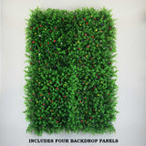 11 Sq ft. | 4 Panels Artificial Boxwood Hedge Faux Genlisea With Colorful Flowers Foliage Green Garden Wall Mat