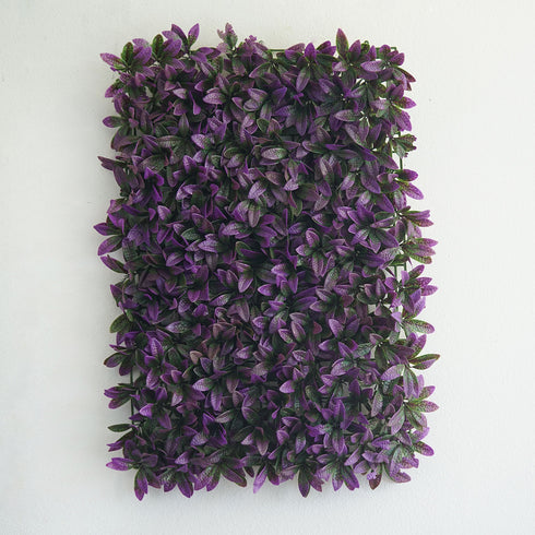 11 Sq ft. | 4 Panels Artificial Purple/Green Boxwood Hedge Faux Elliptical Leaves Foliage Green Garden Wall Mat