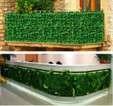 4 Pack 11 Sq ft. Artificial Boxwood Hedge Faux Foliage Green Garden Wall Mat - Green