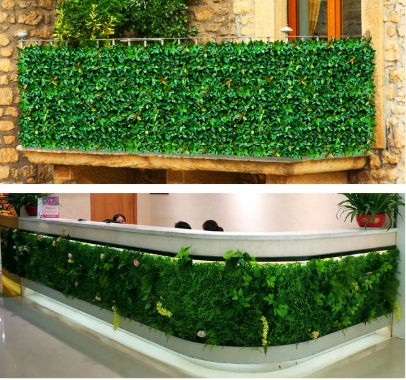 11 Sq ft. | 4 Panels Artificial Boxwood Hedge Elliptical Leaves Foliage Green Garden Wall Mat