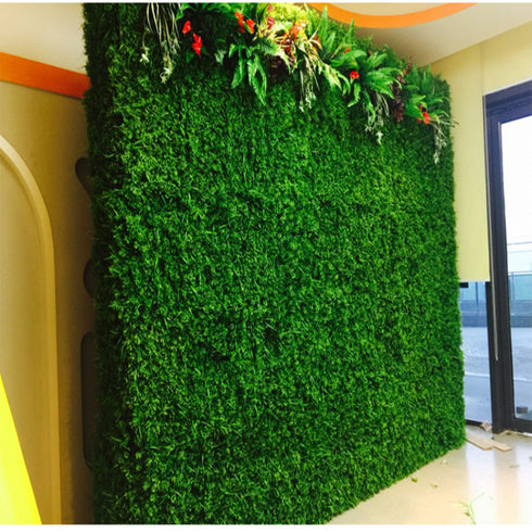 11 Sq ft. | 4 Panels Artificial Green Boxwood Hedge Faux Foliage Green Garden Wall Mat