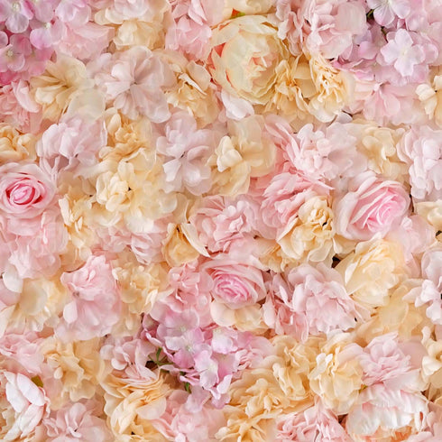 13 Sq ft. | 4 Panels UV Protected Lifelike Assorted Silk Flower Wall Mats - Pink | Champagne
