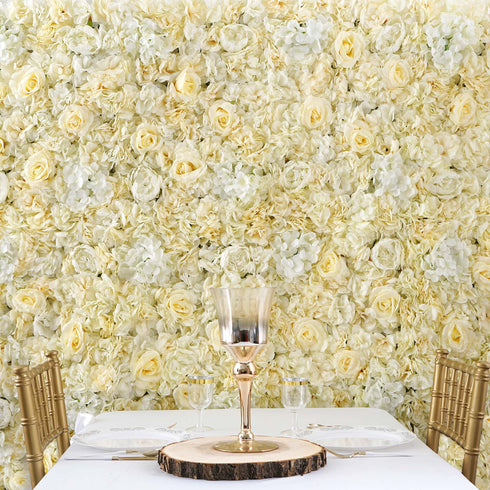 13 Sq ft. | 4 Panels UV Protected Lifelike Assorted Silk Flower Wall Mats - White | Champagne