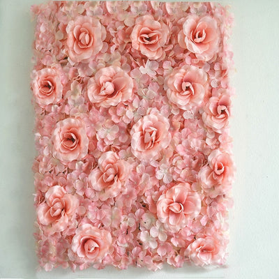 4 Pack 11 Sq ft. UV Protected 3D Blush | Rose Gold Cream Silk Rose & Hydrangea Flower Wall Mat Panel