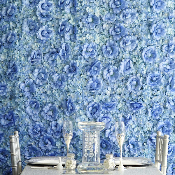 Pack of 4 - 11 Sq ft. UV Protected 3D Blue Silk Rose & Hydrangea Flower Wall Mat Panel