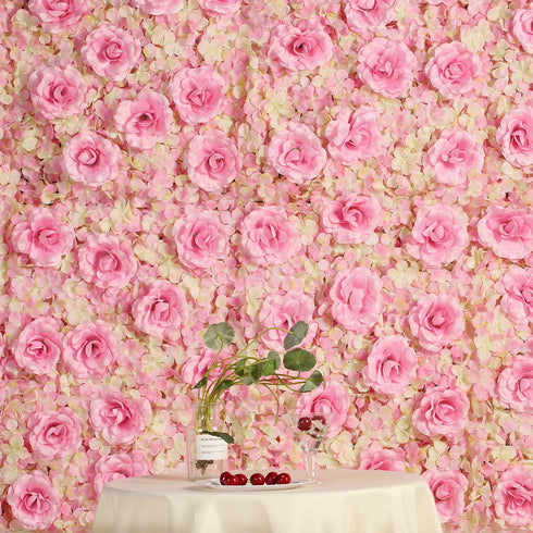 4 Pack 11 Sq ft. UV Protected 3D Pink/Cream Silk Rose & Hydrangea Flower Wall Mat Panel