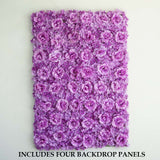 4 Pack 11 Sq ft. UV Protected 3D Purple Silk Rose & Hydrangea Flower Wall Mat Panel
