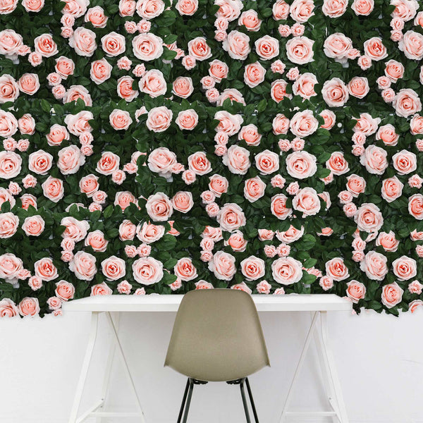 3 Sq Ft - Silk Rose Flower Wall Panels, Wedding Backdrop Wall Decor - Rose Gold | Blush