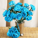 12 Pack 84 Pcs Turquoise Artificial Silk Camellia Flowers