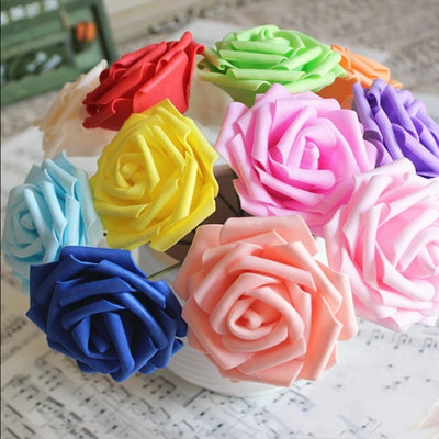 6 Pack 36 Pcs White Artificial Foam Rose Flowers