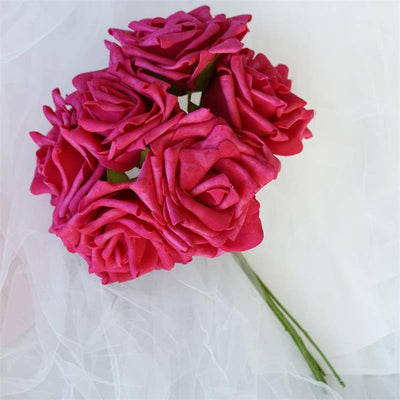 6 Fascinating Foam Rose Bouquets - Fushia