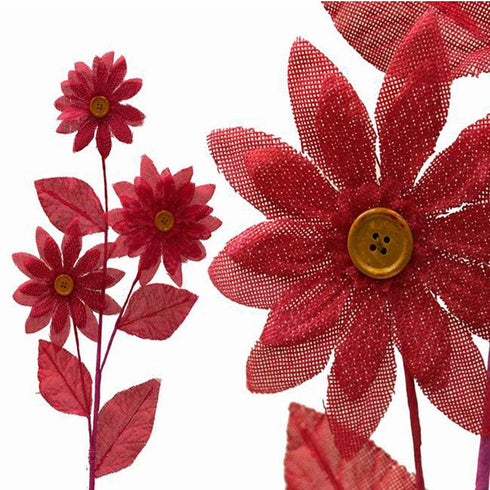 15 Burlap Daisies Flowers Bouquet Vase Decor - Fushia