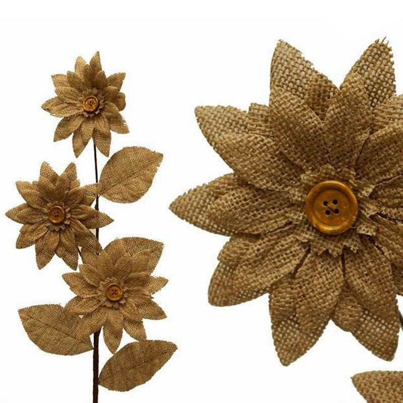 15 Burlap Daisies Flowers For Wedding Home Bouquet Vase Centerpiece Décor - Natural