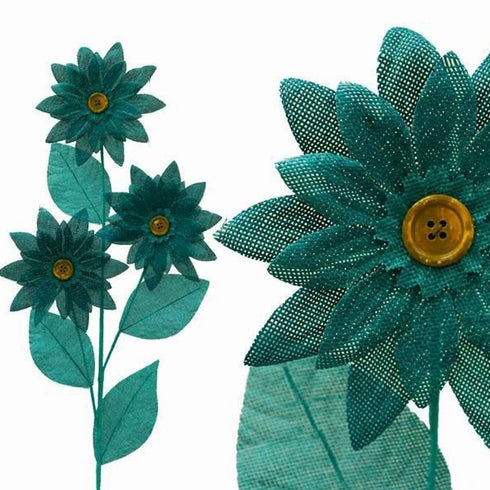 15 Burlap Daisies Flowers Bouquet Vase Decor - Turquoise