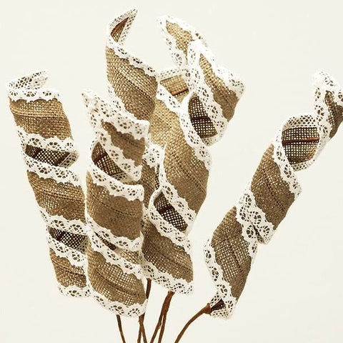 15 Burlap Curly Pharos For Wedding Home Vase Centerpiece Décor- Natural