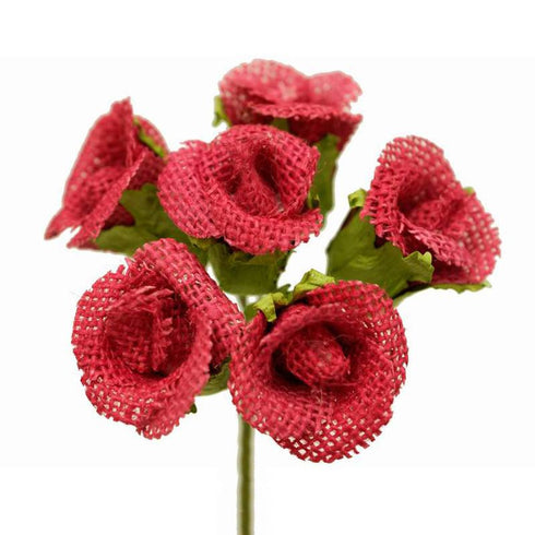 30 Burlap Rose Buds Vase Decor - Fushia - 5 Bushes