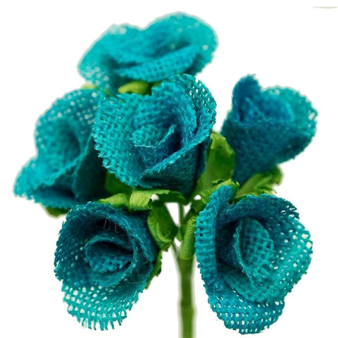 30 Burlap Pageant Petit Rose Buds - Turquoise
