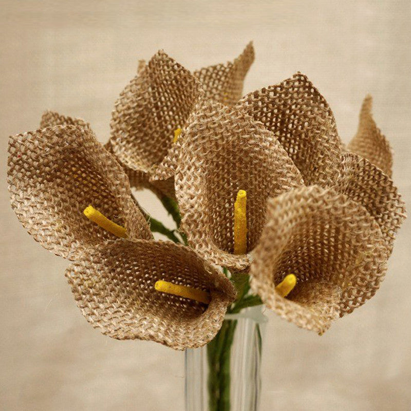 Very 36 Natural Burlap Calla Lilies Artificial Flowers Wedding Bouquets  LM58