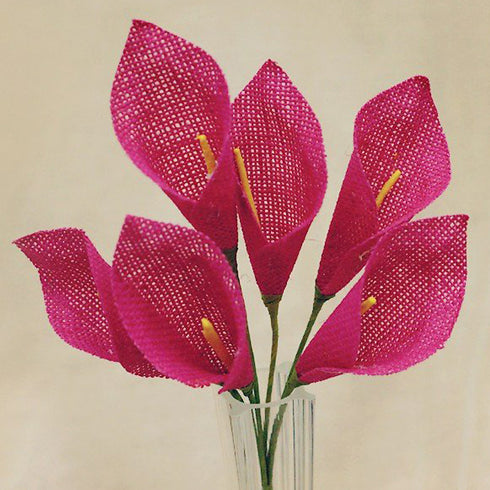36 Pcs Fushia Burlap Calla Lilly Flowers | Artificial Craft Flowers