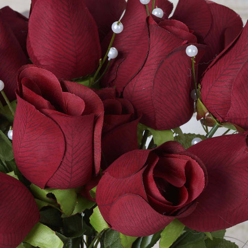 42 Giant Velvet Rose Buds on Long Stems - Burgundy