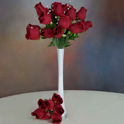 6 Bush 42 pcs Burgundy Artificial Velvet Rose Bud Flowers