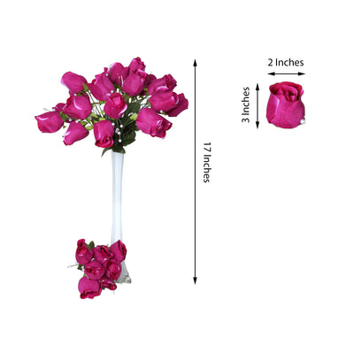 6 Bush 42 pcs Fushia Artificial Velvet Rose Bud Flowers