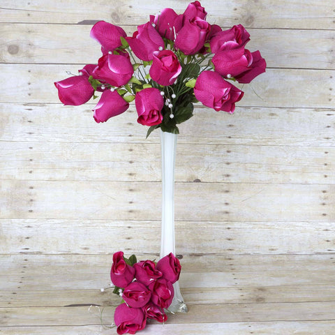 42 Giant Velvet Rose Buds on Long Stems - Fushia