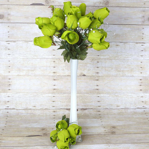 42 Giant Velvet Rose Buds on Long Stems - Lime