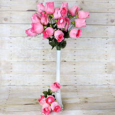 42 Giant Velvet Rose Buds on Long Stems - Pink