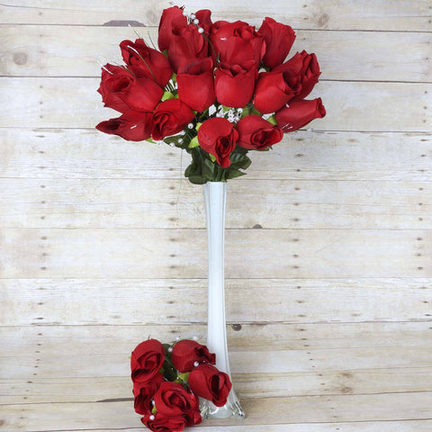 42 Giant Velvet Rose Buds on Long Stems - Red